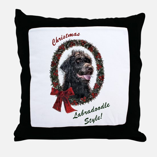 Labradoodle Christmas Throw Pillow