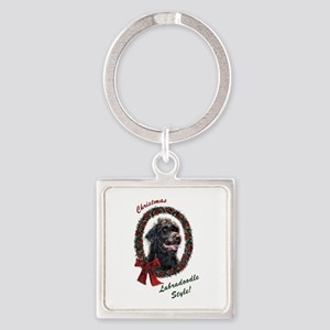 Labradoodle Christmas Square Keychain