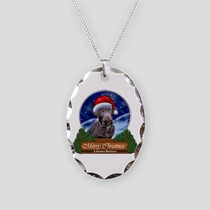 Labrador Retriever Christmas Necklace Oval Charm
