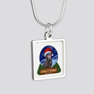 Labrador Retriever Christm Silver Square Necklace