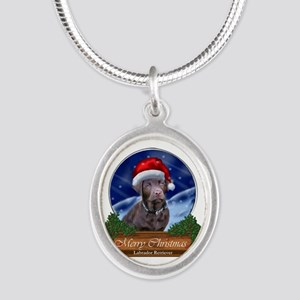 Labrador Retriever Christmas Silver Oval Necklace