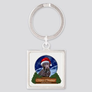 Labrador Retriever Christmas Square Keychain