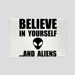 Believe Yourself Aliens Rectangle Magnet (10 pack)