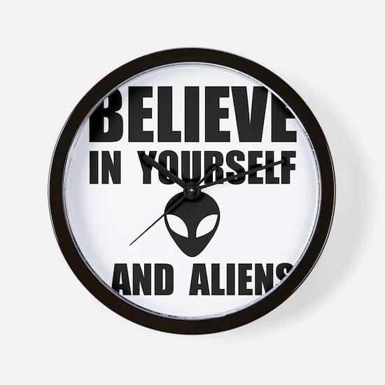 Believe Yourself Aliens Wall Clock