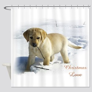 Labrador Retriever Christmas Shower Curtain