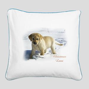 Labrador Retriever Christmas Square Canvas Pillow