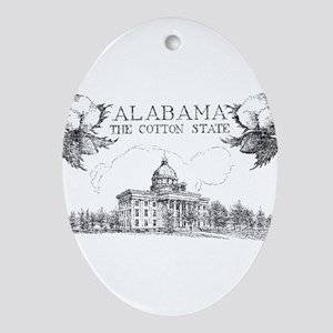 Vintage Alabama Cotton Ornament (Oval)