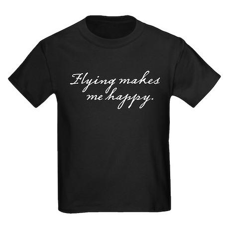 Flying makes me happy Kids Dark T-Shirt