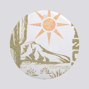 Vintage Arizona Cactus and Sun Ornament (Round)