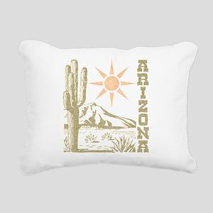 Vintage Arizona Cactus and Sun Rectangular Canvas
