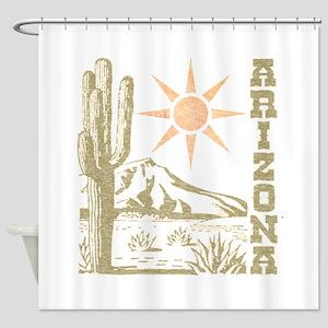 Vintage Arizona Cactus and Sun Shower Curtain
