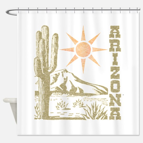 Vintage Arizona Cactus and Sun Shower Curtain