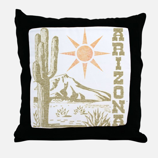 Vintage Arizona Cactus and Sun Throw Pillow