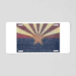 Faded Arizona State Flag Aluminum License Plate