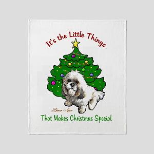 Lhasa Apso Christmas Throw Blanket