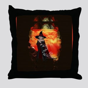 Firey Witch Fantasy Artwork Throw Pillow
