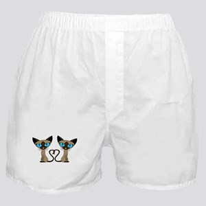 Cute Siamese Cats Tail Heart Boxer Shorts