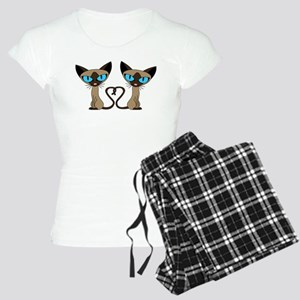 Cute Siamese Cats Tail Heart Pajamas