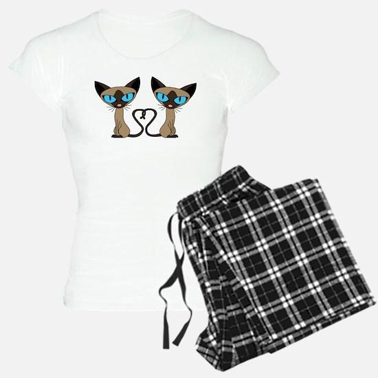 Cute Siamese Cats Tail Heart Pajamas