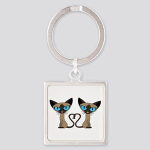 Cute Siamese Cats Tail Heart Keychains
