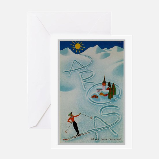 Vintage Arosa Switzerland Travel Greeting Card