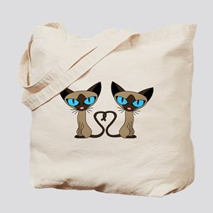 Cute Siamese Cats Tail Heart Tote Bag