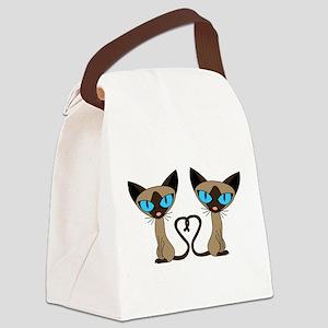 Cute Siamese Cats Tail Heart Canvas Lunch Bag
