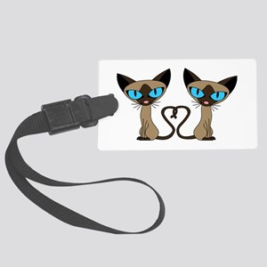 Cute Siamese Cats Tail Heart Luggage Tag