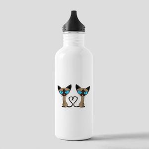 Cute Siamese Cats Tail Heart Water Bottle