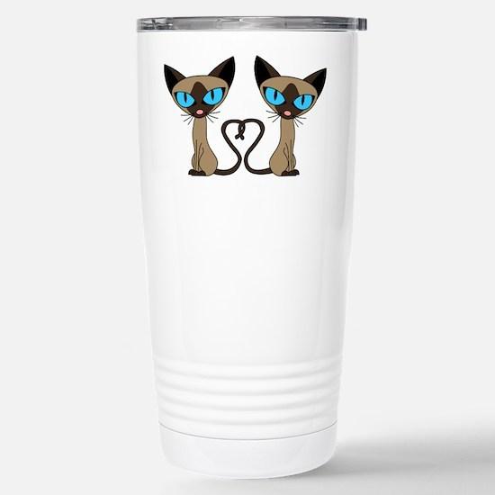 Cute Siamese Cats Tail Heart Travel Mug