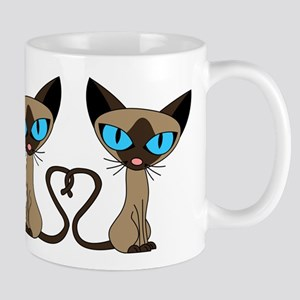 Cute Siamese Cats Tail Heart Mug