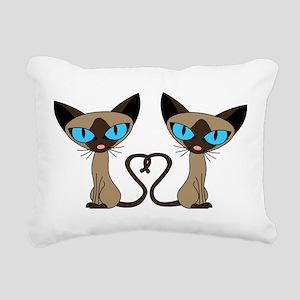 Cute Siamese Cats Tail Heart Rectangular Canvas Pi