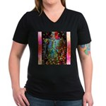 Beaming Up Women's V-Neck Dark T-Shirt