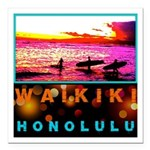 Waikiki Three Wise Surfers Square Car Magnet 3