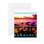 Waikiki Three Wise Surfers Greeting Cards (Pk of 2