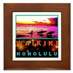 Waikiki Three Wise Surfers Framed Tile