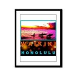 Waikiki Three Wise Surfers Framed Panel Print