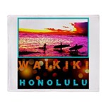 Waikiki Three Wise Surfers Throw Blanket
