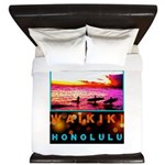 Waikiki Three Wise Surfers King Duvet