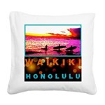 Waikiki Three Wise Surfers Square Canvas Pillow