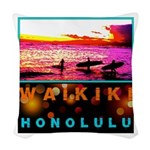 Waikiki Three Wise Surfers Woven Throw Pillow