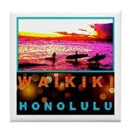 Waikiki Three Wise Surfers Tile Coaster