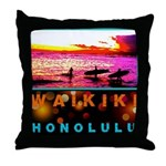 Waikiki Three Wise Surfers Throw Pillow