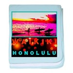 Waikiki Three Wise Surfers baby blanket