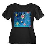 StarBurst Women's Plus Size Scoop Neck Dark T-Shir