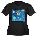 Starburst Women's Plus Size V-Neck Dark T-Shirt