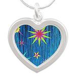 StarBurst Silver Heart Necklace