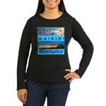 Waikiki Hawaii Sunsets Women's Long Sleeve Dark T-