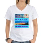 Waikiki Hawaii Sunsets Women's V-Neck T-Shirt