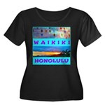Waikiki Hawaii Sunsets Women's Plus Size Scoop Nec